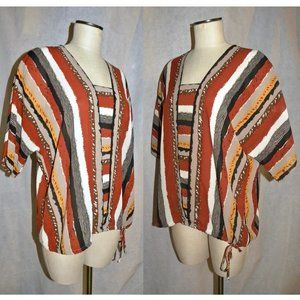 VTG 70s Abstract Stripe Silky Tunic Blouse